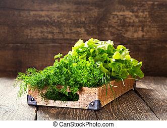 木制, 藥草, 綠色, 箱子