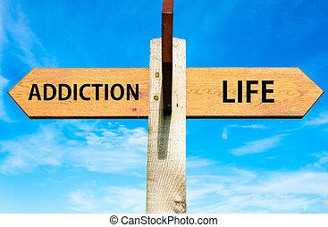 木制, 路標, 由于, 二, 相反, 箭, 在上方, 清楚, 藍色的天空, 癮, 以及, 生活, 簽署, 選擇,...