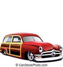 木制, 身體, 馬力強大的 汽車