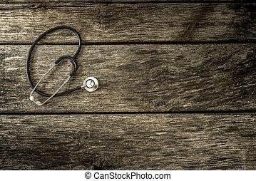 木制, 醫學, 黑色,  Textured, 聽診器, 老年, 板條, 躺