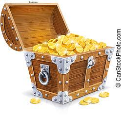 木制, 金色, 胸部, 硬币, 葡萄收获期