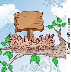 木制, 鳥巢, 卡通, 簽署