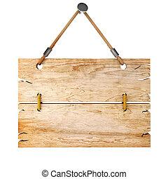 木制, 3d, 征候板, 空白