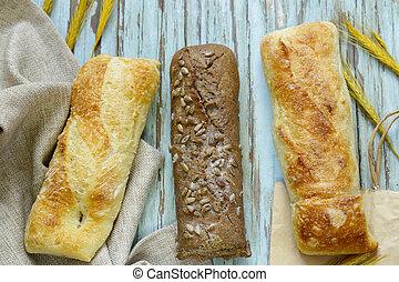 木制, baguettes, 新鮮, 桌子