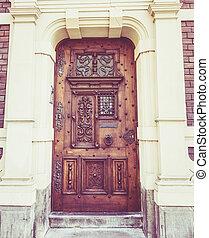 木制, door., 前面, door., 葡萄酒, retro, 過濾器