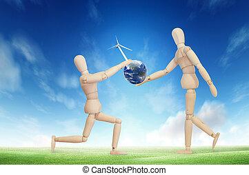 木制, eco, 模型, 概念, 地球