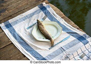 木制, fish, 它, 甲板