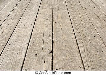 木制, grunge, 钉子, 老, 地板
