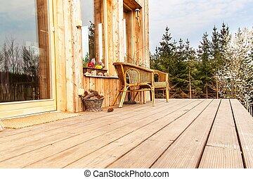 木制, house., 地板, forest., 椅子, 生态, 阶地, 柳条