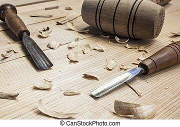 木匠, 工具, 以及, 鑿子, 上, 木頭, 桌子, 背景