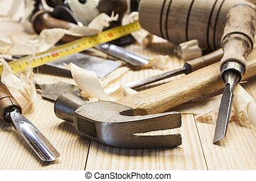 木匠, 工具, 在, 松樹木頭, 桌子