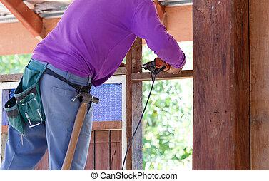 木匠, 操練, 木頭, 為, 房子建造