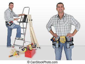 木匠, 站, 由于, 梯子