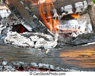 木材を伐採する, 燃焼, 火木質, クローズアップ, 灰