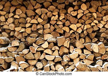 木材を伐採する, 背景, 積み重ねられた