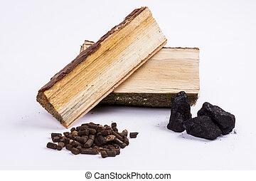 木材, 背景,  biomass, 煤炭, 白色, 小球
