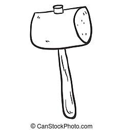 木槌, 木製である, 黒, freehand, 引かれる, 白, 漫画