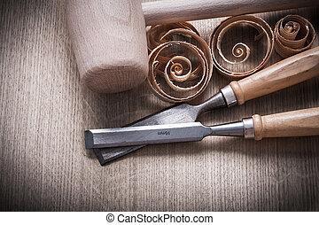 木槌, 木製である, vi, のみ, 表面, firmer, 木, scobs, 横
