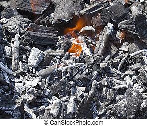 木炭, くすぶること