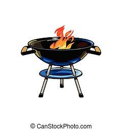 木炭, グリル, 燃焼, 炎, バーベキュー, ラウンド, bbq