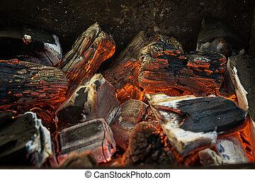 木炭, パー, 燃焼, 石炭, 暑い, 木, 黒, オレンジ, bbq, 赤