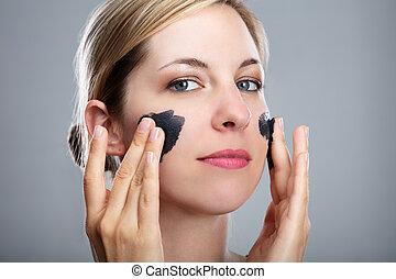 木炭, 女, 適用, 彼女, マスク, 作動させられた, 顔