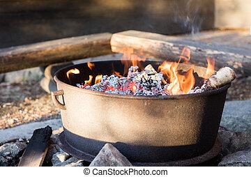 木炭, 火, firepit, 暑い, 準備ができた, バーベキュー