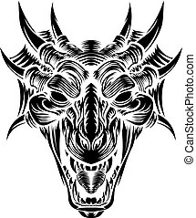 木版, ドラゴン, 頭, 前部