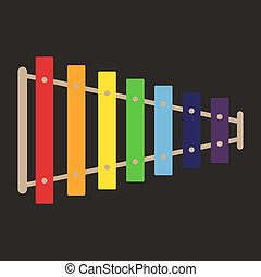木琴, イラスト, 白, ベクトル, バックグラウンド。