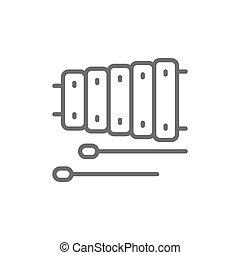 木琴, 道具, 線, 音楽, icon.