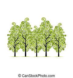 木立ち, デザイン, 緑, あなたの, 木