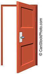 木製である, ある, ドア, 開いた, 左
