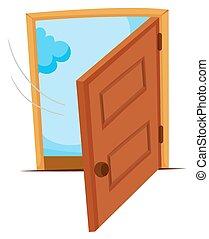 木製である, ある, ドア, 開いた