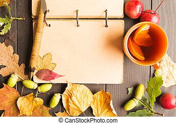 木製である, お茶の葉, 秋, 暑い, ノート, 背景, レモン, 開いた