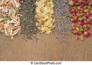 木製である, お茶, 各種組み合わせ, 乾かされた, 背景