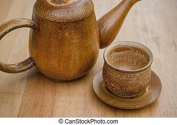 木製である, お茶, 机, ティーポット, カップ