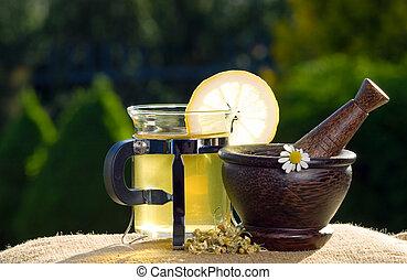 木製である, お茶,  chamomiles, すりこぎ