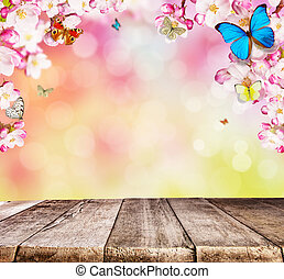 木製である, さくらんぼ, 蝶, 板, 花