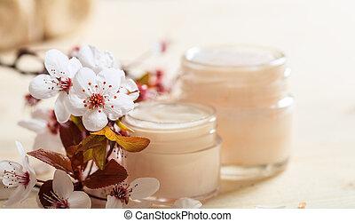 木製である, さくらんぼ, moisturizing, 背景, 花, クリーム