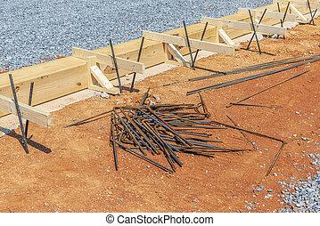 木製である, たたきつける, 棒, 準備, 枠組み, コンクリート, 鉄