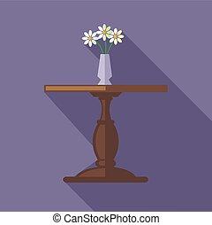 木製である, つぼ, ベクトル, デジタル, テーブル, 花