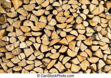 木製である, まき, 切口, 背景