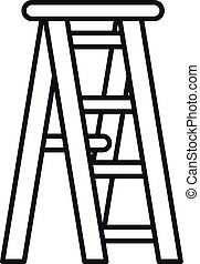 木製である, アイコン, はしご, スタイル, アウトライン