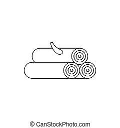 木製である, アイコン, スタイル, 丸太, アウトライン