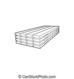 木製である, アイコン, スタイル, 板, アウトライン