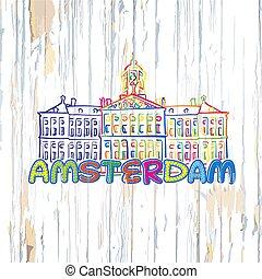 木製である, アムステルダム, 背景, カラフルである, 図画