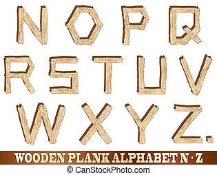 木製である, アルファベット, z, 板, n