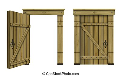 木製である, アーチ形にされる, 骨董品, ドア, ファンタジー