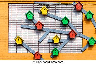 木製である, カラフルである, 壁, れんが, 増した, birdhouses