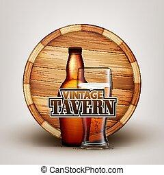 木製である, ガラス, ビール, ベクトル, びん, 樽